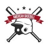 Emblème avec le gant croisé de batte de baseball et de base-ball Concevez l'élément pour le logo, label, emblème, signe, insigne Photographie stock