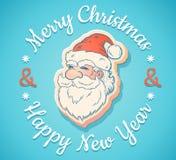 Emblème avec Santa Claus illustration de vecteur