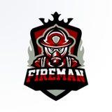 Emblème coloré, autocollant, insigne, logotype d'un sapeur-pompier dans un masque de gaz Unité de délivrance, équipement de prote illustration de vecteur