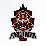 Emblème coloré, autocollant, insigne, logotype d'un sapeur-pompier dans un masque de gaz Unité de délivrance, équipement de prote illustration libre de droits