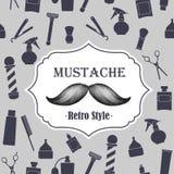Emblème démodé de moustache de salon de coiffure sur le seaml Photographie stock libre de droits
