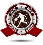 Emblème d'équipe de basket avec des rubans Image libre de droits