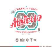 Emblème d'équipe de rugby d'université Images libres de droits
