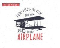 Emblème d'avion Label de biplan Rétros insignes plats, éléments de conception Copies de vintage pour le T-shirt Timbre d'aviation Photos stock