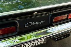 Emblème d'un coupé du challengeur R/T de Dodge de voiture de muscle, 1970 Photographie stock libre de droits