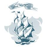 Emblème de bateau de voile dans le rétro style Photographie stock libre de droits