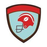 Emblème de bouclier avec le casque de football américain de vue de côté Photos libres de droits