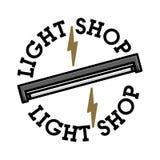 Emblème de boutique de lumière de vintage de couleur Photographie stock