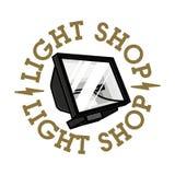 Emblème de boutique de lumière de vintage de couleur Photos stock
