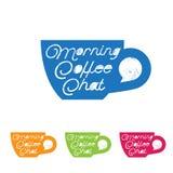 Emblème de causerie de café Logo de café de matin Logo de causerie Tasse avec la bulle dans le style de vintage Images stock