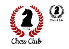 Emblème de club d'échecs avec le chiffre de cheval illustration de vecteur