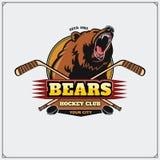 Emblème de club d'hockey avec la tête de l'ours Photographie stock libre de droits