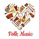 Emblème de coeur de musique folk des instruments de musique illustration stock