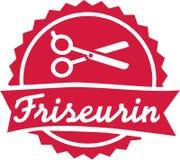 Emblème de coiffeur avec des ciseaux illustration stock