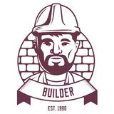 Emblème de constructeur sur un fond de mur de briques illustration de vecteur