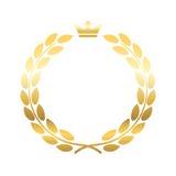Emblème de couronne de guirlande de laurier d'or illustration stock