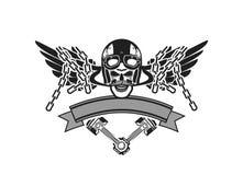 Emblème de crâne de cycliste Photographie stock
