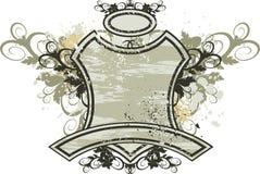 Emblème de cru - ornement de fleurs sur le fond grunge illustration stock