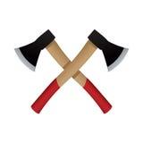 Emblème de deux haches, icône de vecteur illustration libre de droits