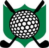 Emblème de golf avec des clubs illustration libre de droits