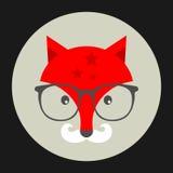 Emblème de hippie avec le renard en verres. Photographie stock