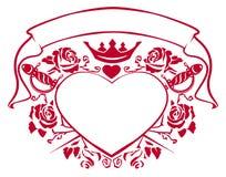 Emblème de l'amour - formez le coeur, le poignard, la couronne, le ruban et les roses Photos libres de droits
