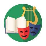 Emblème de la créativité ou de l'art : littérature, poésie, musique, agissant illustration de vecteur