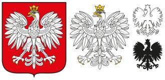 Emblème de la Pologne - Eagle blanc, écran protecteur et silhouette image libre de droits