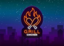 Emblème de Logo Chicken Grill, signe de style du néon pour le magasin de nourriture, restaurant Enseigne au néon, bannière rougeo Illustration Libre de Droits