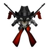 Emblème de machine de Thompson avec le crâne dans le chapeau illustration libre de droits