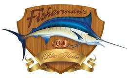 Emblème de marlin bleu illustration de vecteur