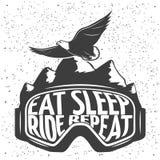 Emblème de masque de snowboarding illustration de vecteur