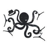 Emblème de mode avec l'illustration de vecteur de poulpe Image stock