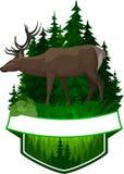 Emblème de région boisée de vecteur avec des cerfs communs Images libres de droits