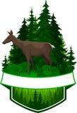 Emblème de région boisée de vecteur avec des cerfs communs Photographie stock libre de droits