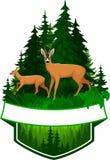 Emblème de région boisée de vecteur avec des cerfs communs d'oeufs de poisson Photographie stock