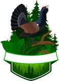Emblème de région boisée de vecteur avec le coq de bruyière Photo libre de droits