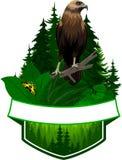 Emblème de région boisée de vecteur avec le faucon et le papillon Photographie stock