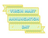 Emblème de salutation de jour de Mary Annunciation de Vierge Photo stock