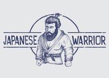 Emblème de vecteur avec le combattant du Japon Photos libres de droits