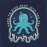 Emblème de vecteur avec le poulpe Affiche de mer illustration stock