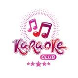 Emblème de vecteur de club de karaoke créé utilisant les notes musicales, conception e Photos stock