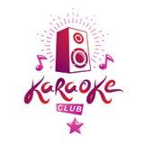 Emblème de vecteur de club de karaoke créé utilisant les notes musicales et le subwo Images stock
