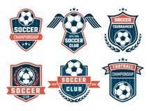 Emblème de vecteur de thème du football Conception de logos de sport illustration stock