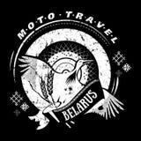 Emblème de voyage de Moto avec la cigogne d'oiseau, roue national Photo libre de droits