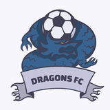 Emblème du football du football de dragon Images stock