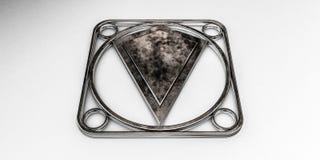 Emblème en métal d'isolement sur le fond blanc Photographie stock