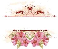 Emblème et fleurs de cru Photographie stock