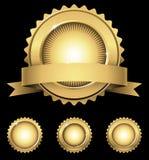 Emblème et joints brillants d'or illustration de vecteur
