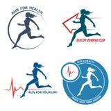 Emblème et Logo Set en bonne santé de course Photos stock